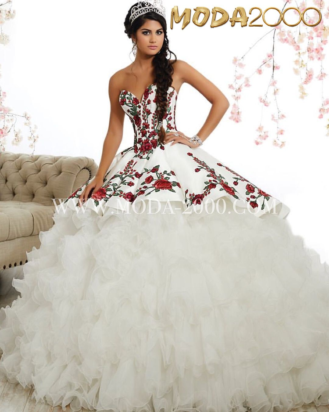 cd9381a721 2-1 Charro white red quinceanera dress