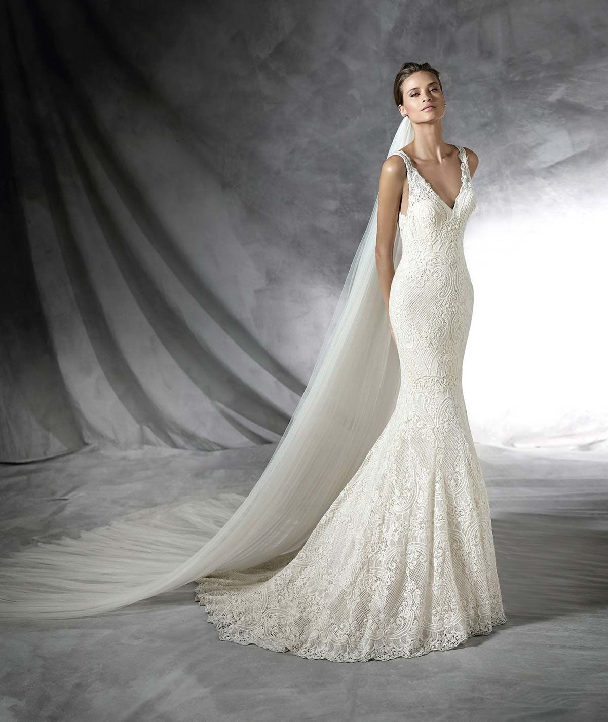 No lace wedding dress october 2018 Guipure mermaid wedding dress Vneck bodice with straps Semisheer