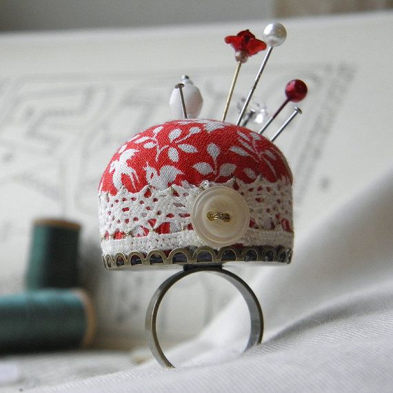 Lovebirds Pincushion Ring by WychburyDesignsUK on Etsy, $20.00