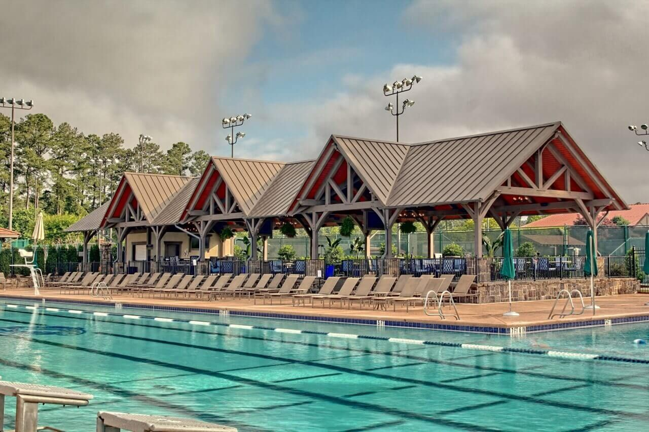 timber framed pool pavilion at the atlanta athletic club