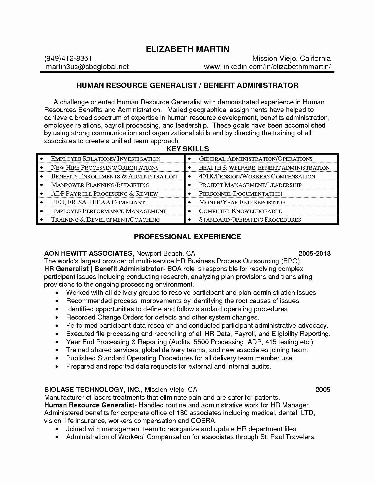Sample Hr Manager Resume Best Of Lovely Human Resource