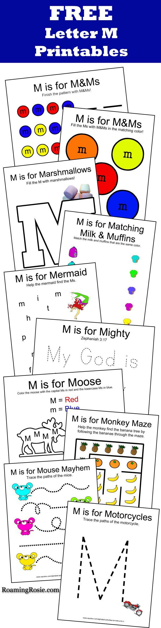 free letter m printables alphabet activities for kids letter m alphabet worksheets. Black Bedroom Furniture Sets. Home Design Ideas