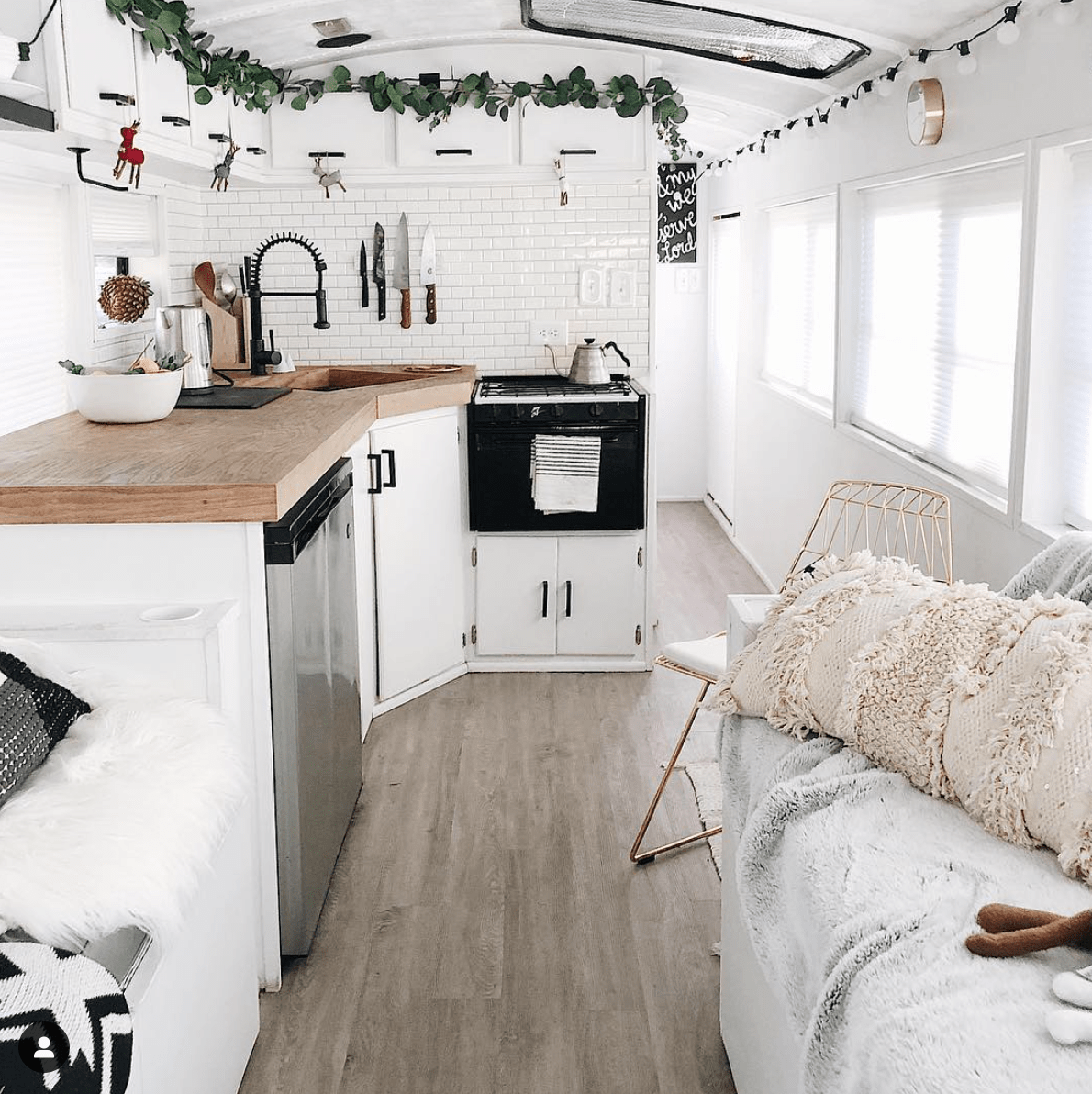 Scandinavian Style Is The Perfect Style For The Bus Interiors A Life Living In In 2020 Bus Interior Caravan Interior Home