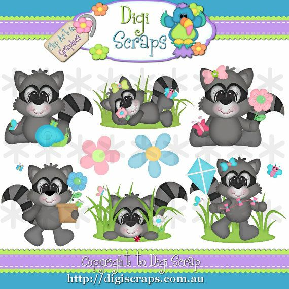 Spring Racoon Clip Art Set  Clipart scrapbooking by Digiscrapsau, $2.00