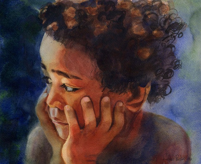 f4c53321d79 African American Black Boy Child Art Print of my watercolor painting ...