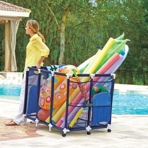48 034 W X 30 034 D X 34 034 H Pvc Polyester Mesh Outdoor Rolling Pool Toy Storage Bin Pool Toy Storage Pool Storage Pool Toys