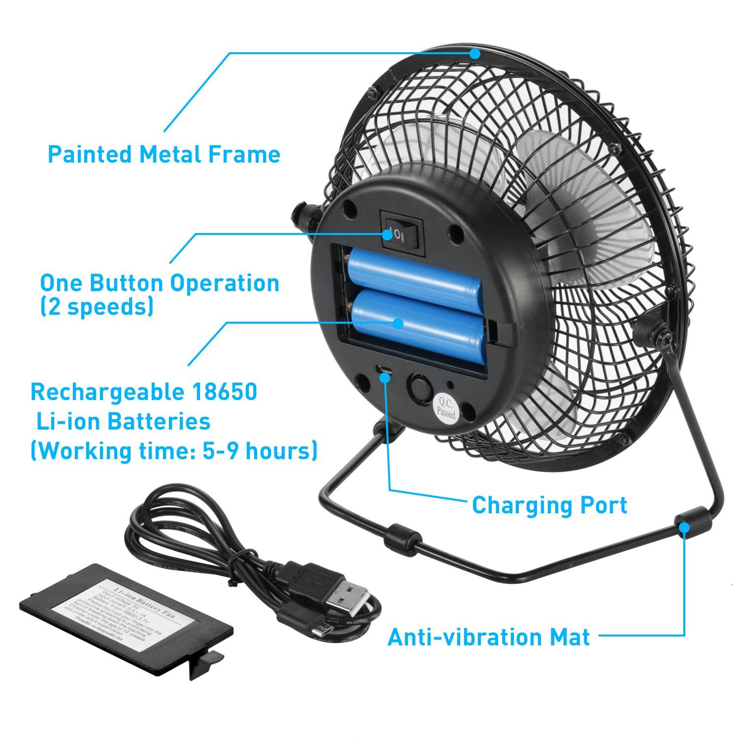 Comlife 7 5 Inch Battery Operated Or Usb Powered Desk Fan Metal