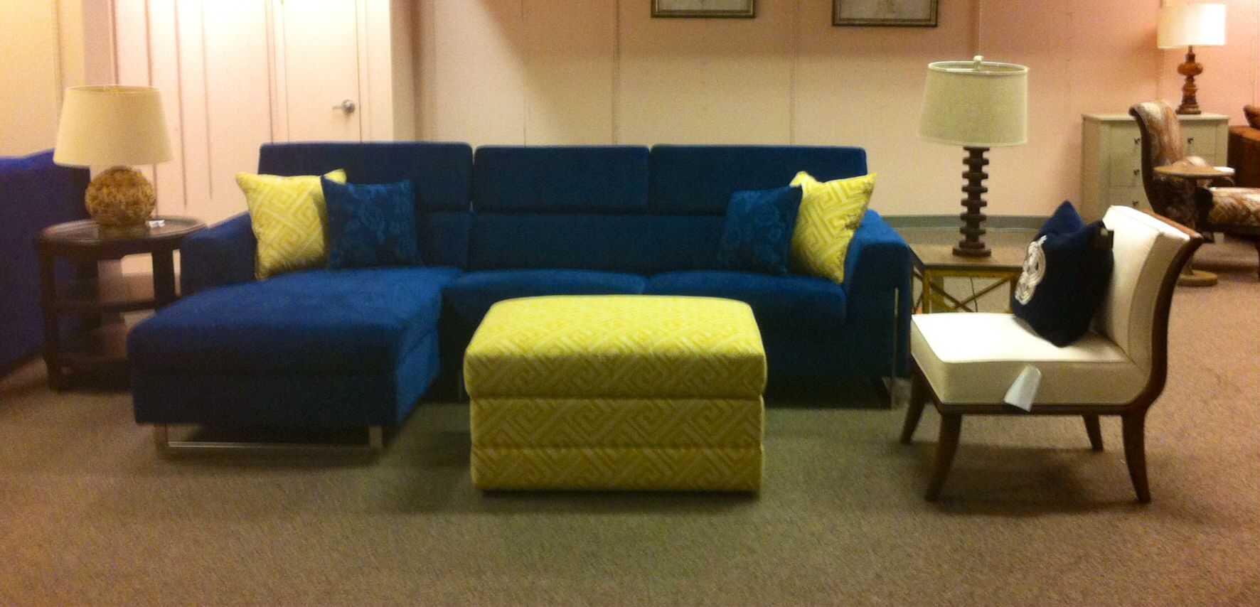 navy blue chaise couch 600 yellow chevron oversized storage ottoman w 2 matching pillows 250. Black Bedroom Furniture Sets. Home Design Ideas