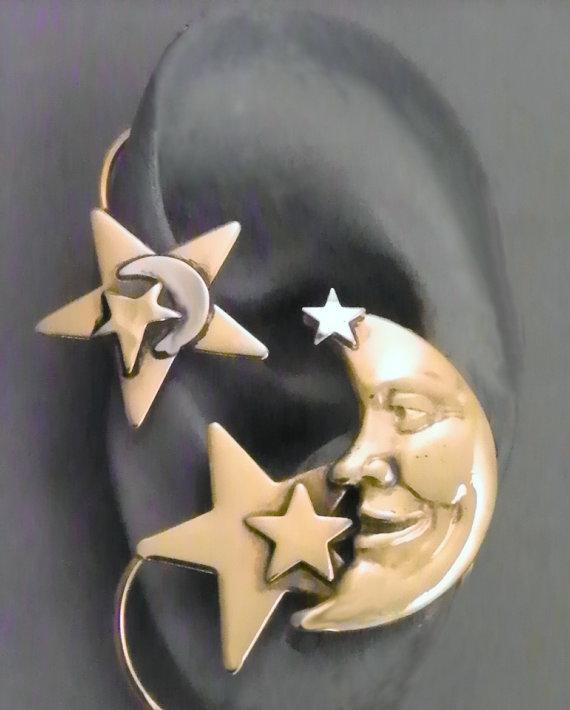 Star and Moon Golden Ear Wrap   MAN in the von SunnySkiesStudio
