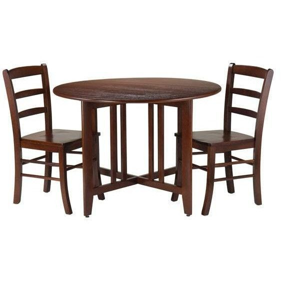 Winsome Alamo 3Pc Round Drop Leaf Table with 2 Ladder Back Chairs