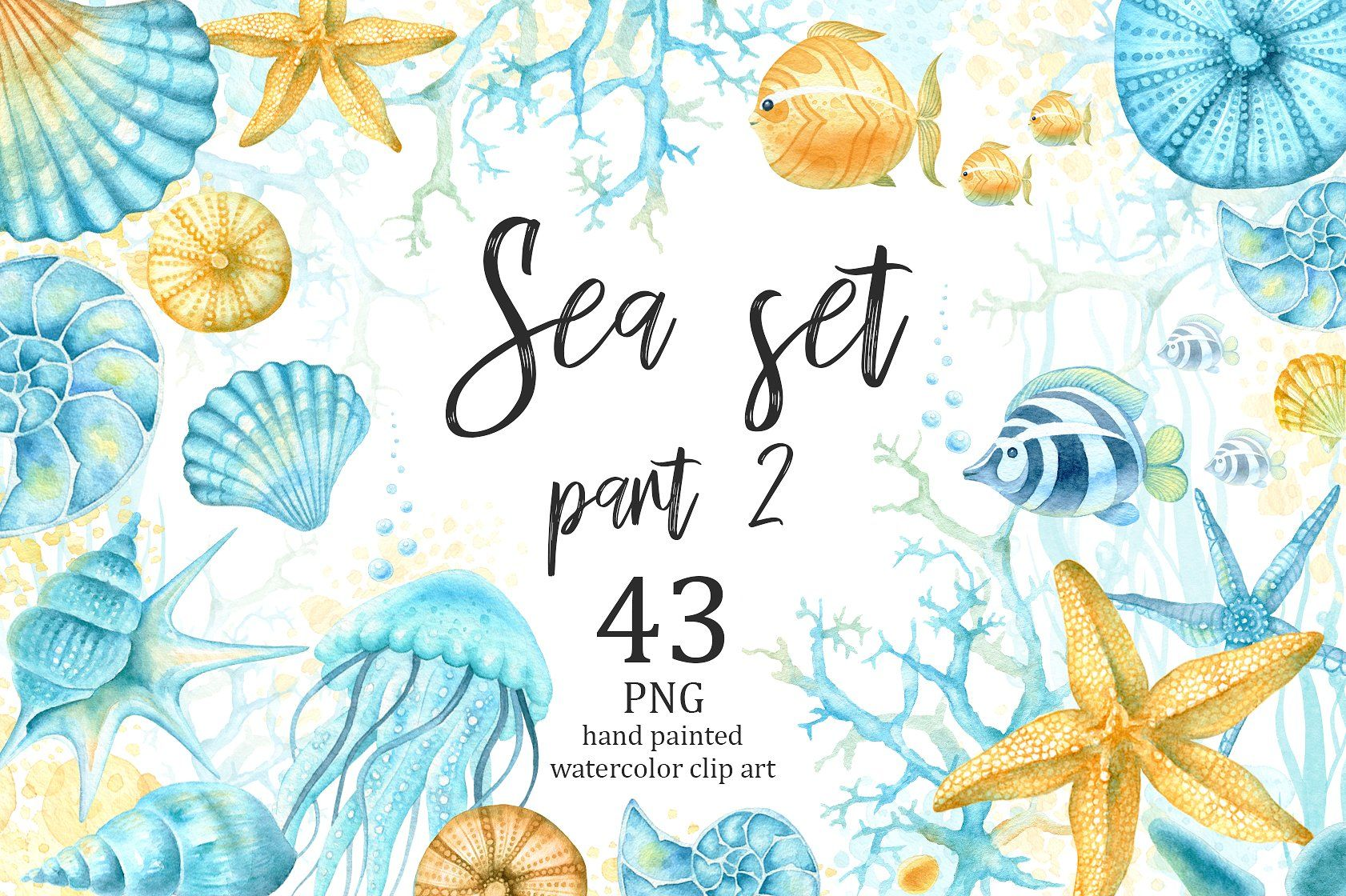 Watercolor Sea Clipart Part 2 Sea Clipart Watercolor Sea Clip Art