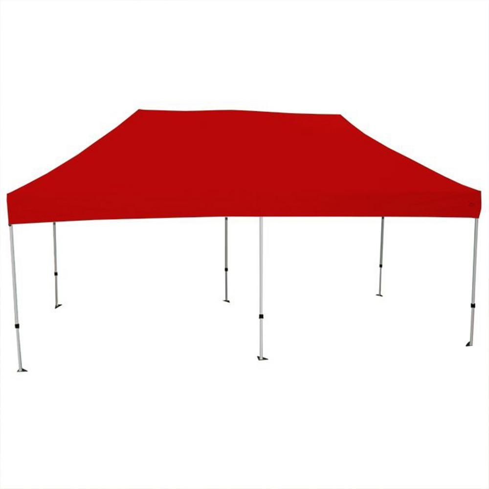 King Canopy Athena 10 ft. x 20 ft. White Frame Instant Pop Up Tent with Red Cover-ATHALW20RD - The Home Depot