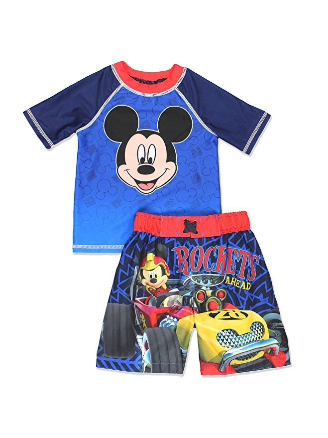 4920f53ea3faa Mickey Mouse and The Roadster Racers Toddler Boys Swim Trunks and Rash  Guard Set Swim with