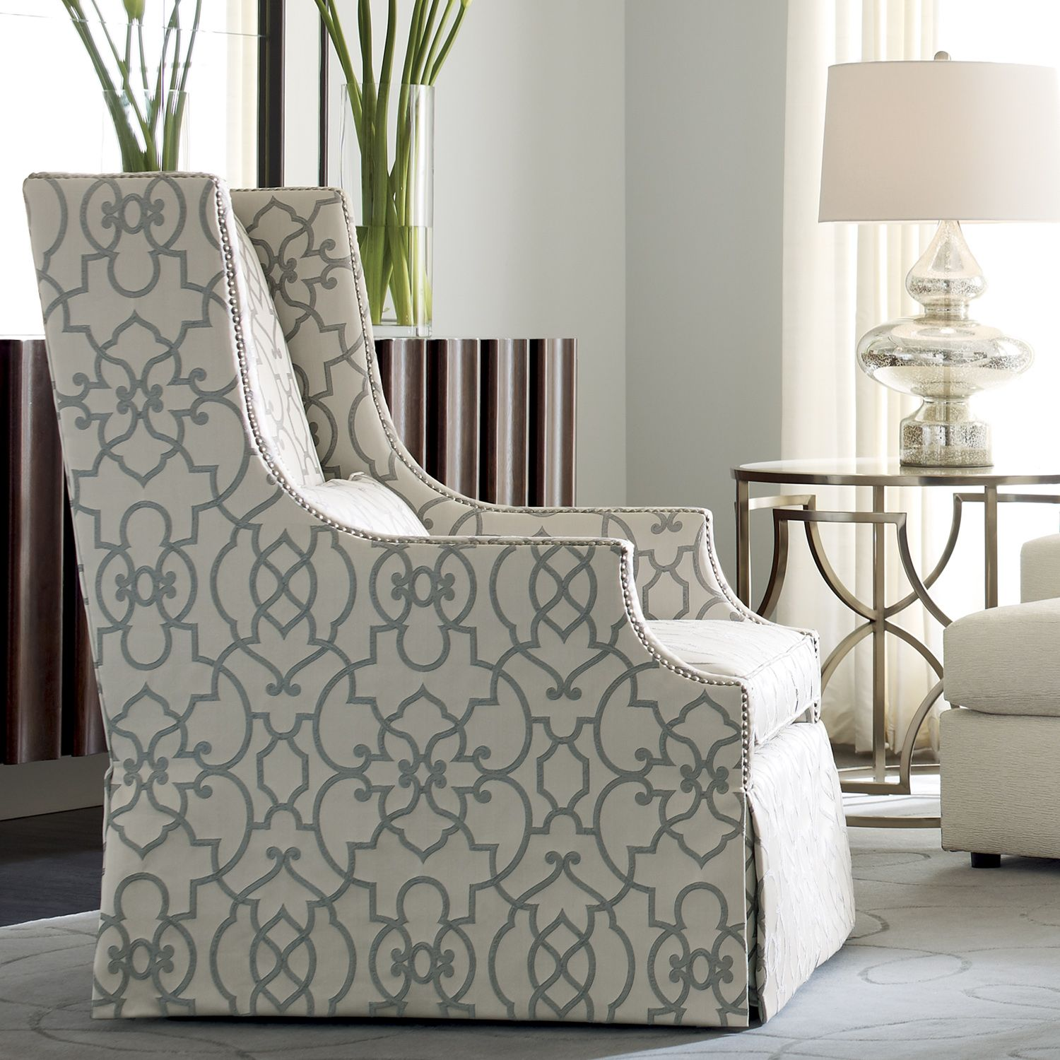 Darbin Chair, In Soft Luster Gray Woven With Large Scale Tracery Pattern,