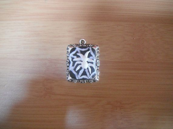 Spider and Web pendent/Charm. Polymer Clay cameo/frame on Etsy, £7.00
