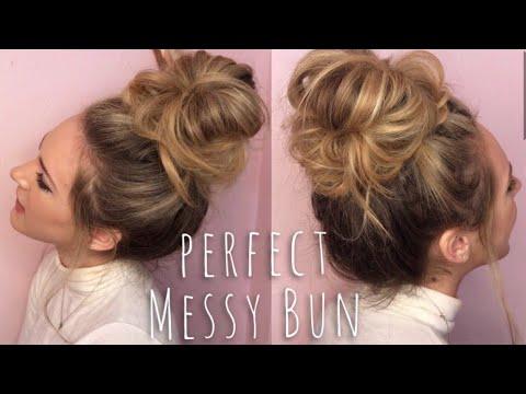 Perfect Messy Bun Hair Tutorial In 2020 Dutt Frisur Anleitung Dutt Anleitung Hubsche Frisuren