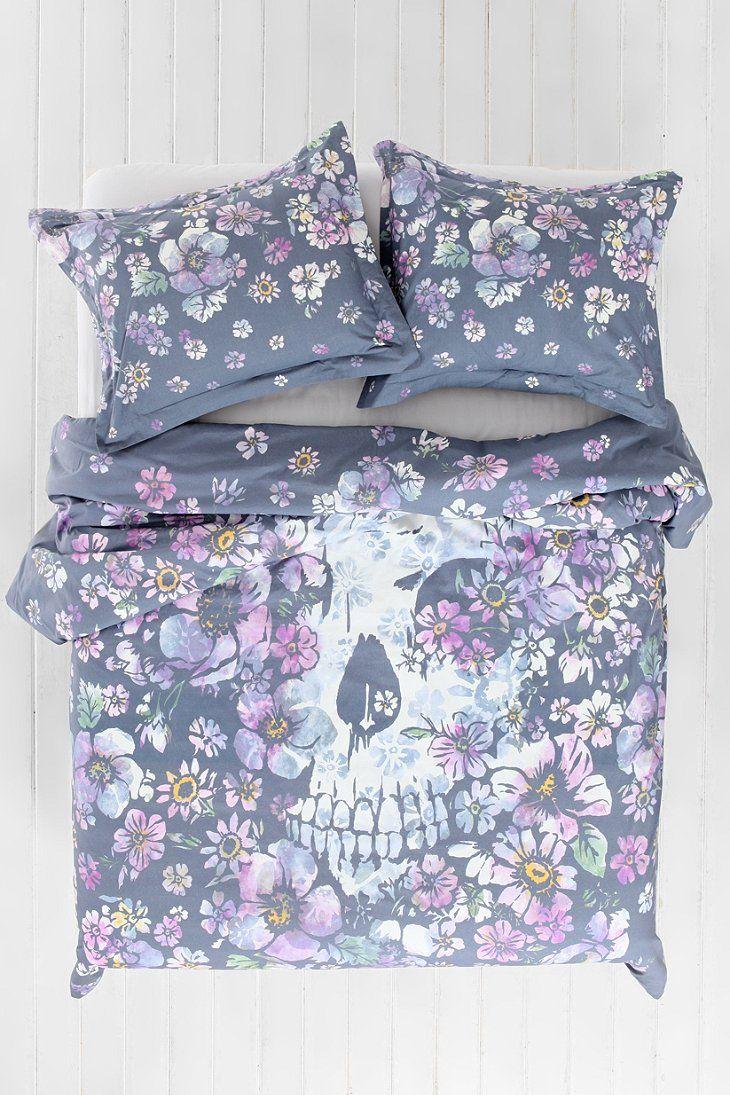 Plum Amp Bow Skull Flower Duvet Cover Lovely Things I Want