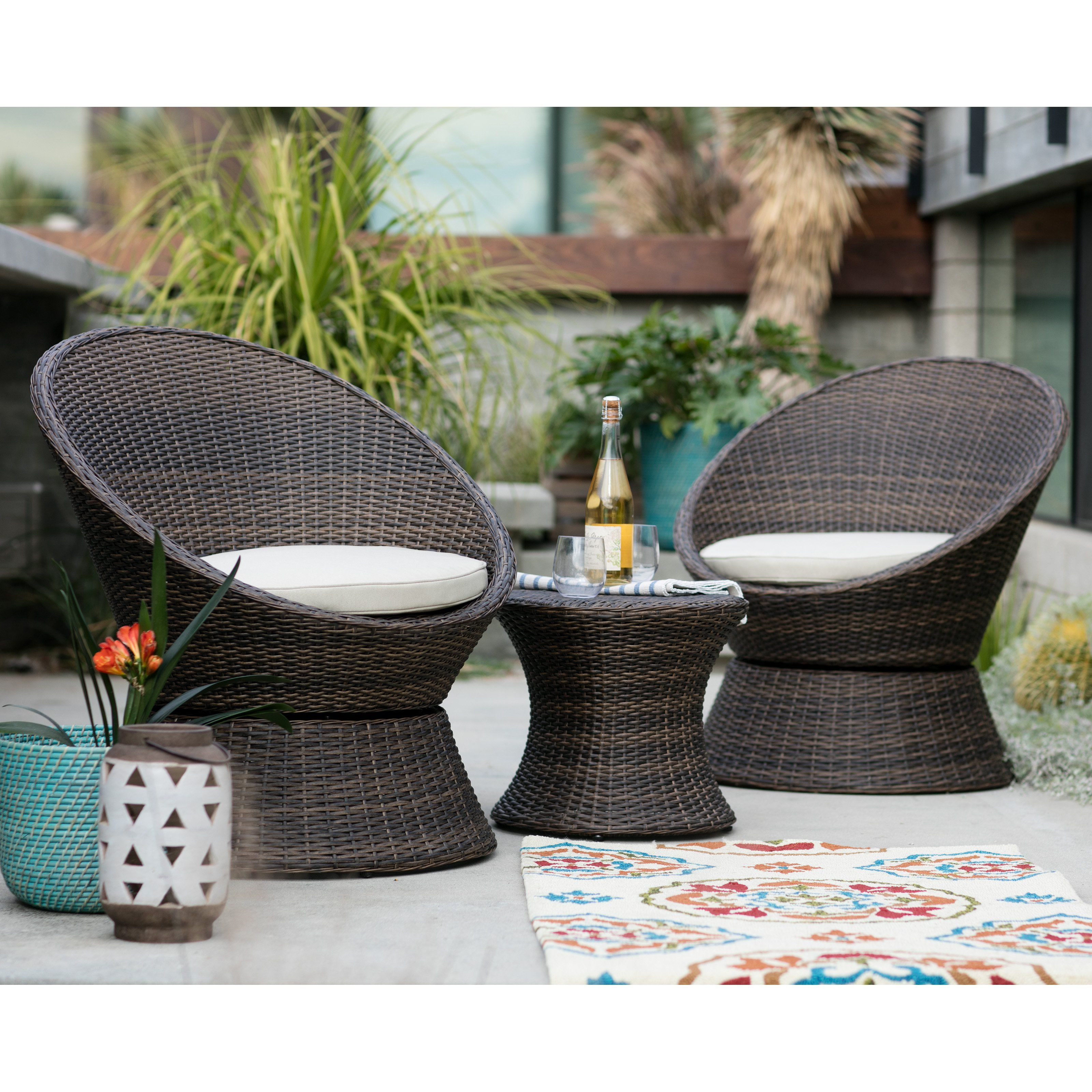 Outdoor Coral Coast Laynee All Weather Wicker 3 Piece Patio Swivel Chairs And Side Table Set Lv Resin Patio Furniture Backyard Furniture Wicker Swivel Chair