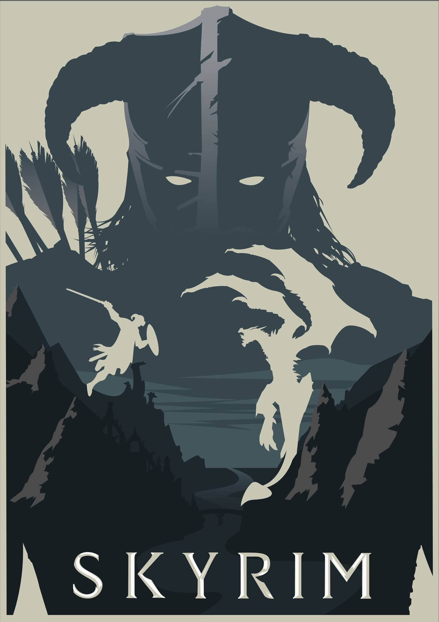 Skyrim Poster The Elder Scrolls V Skyrim Dragonborn Game Art A2 A3