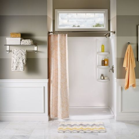 The Ovation Curved Shower Base creates a spacious bathing ...