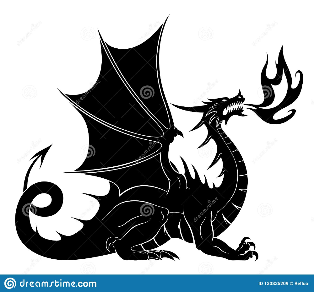 Dragon Silhouette With Fire Stock Vector Illustration Of Mascot Western 130835209 Dragon Silhouette Dragon Illustration Eastern Dragon