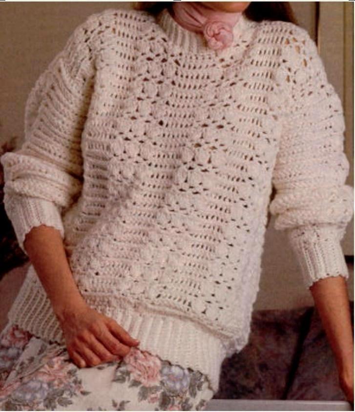 Patrones que hacen punto libre - blanco de ganchillo suéter ...