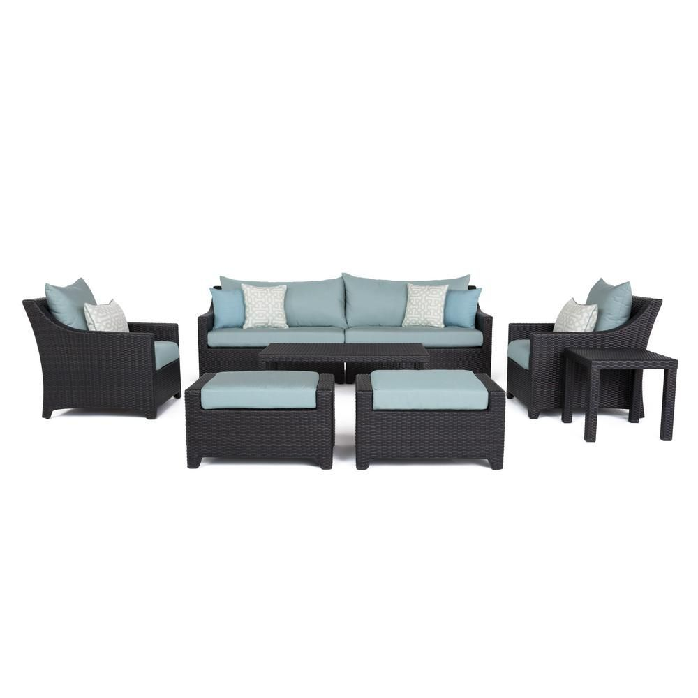 Rst Brands Deco 8 Piece All Weather Wicker Patio Sofa And Club