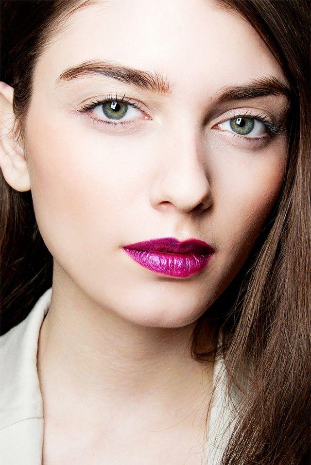 Magenta statement lips + gelled brows