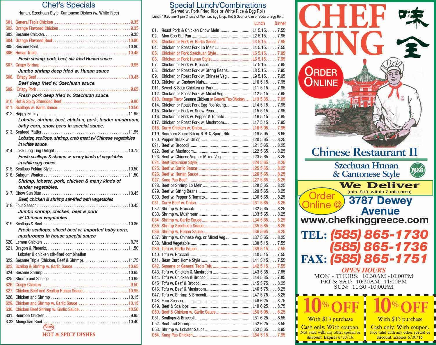 Chef king dewey ave coupons rochester ny chicken lunch