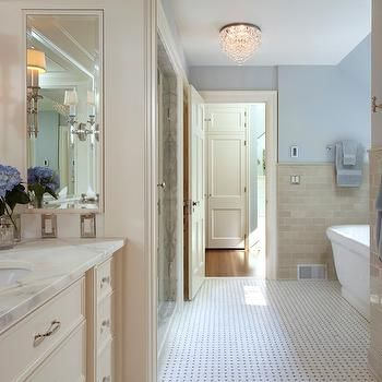 beige subway tiles   classic white kitchen, beige bathroom