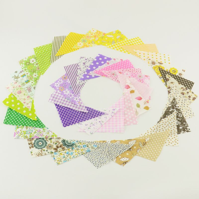 30 pcs/lot 10*10*14CM Triangular Cotton Patchwork Fabric Charm pack Quilting Fabrics No Repeat Designs Cloth Random delivery #Affiliate