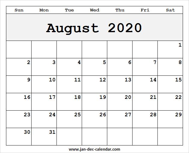 August 2020- December 2020 Calendar Blank August 2020 Calendar Template | January December Calendar