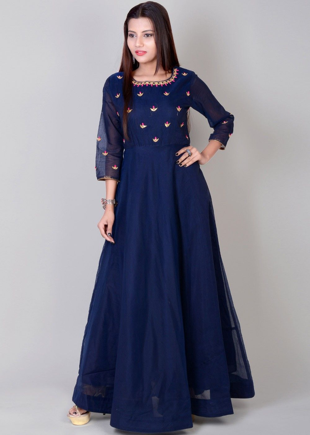 d806c5f022 Readymade #Blue Indian #Gown in #Chanderi Fabric   Traditional Twist ...