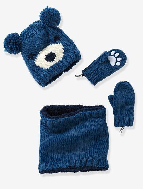 Ensemble garçon Bonnet + Tour de cou + Moufles Bleu grisé - vertbaudet  enfant e0e9f21fd08