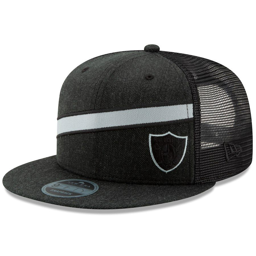 finest selection bdcf2 d1e77 Men s Oakland Raiders New Era Heathered Black Label Scale Trucker 9FIFTY Adjustable  Snapback Hat, Your