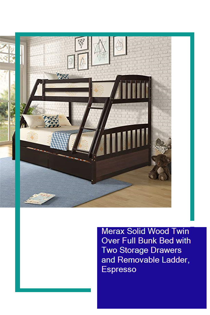 Merax Solid Wood Twin Over Full Bunk Bed With Two Storage Drawers And Removable Ladder Espresso In 2020