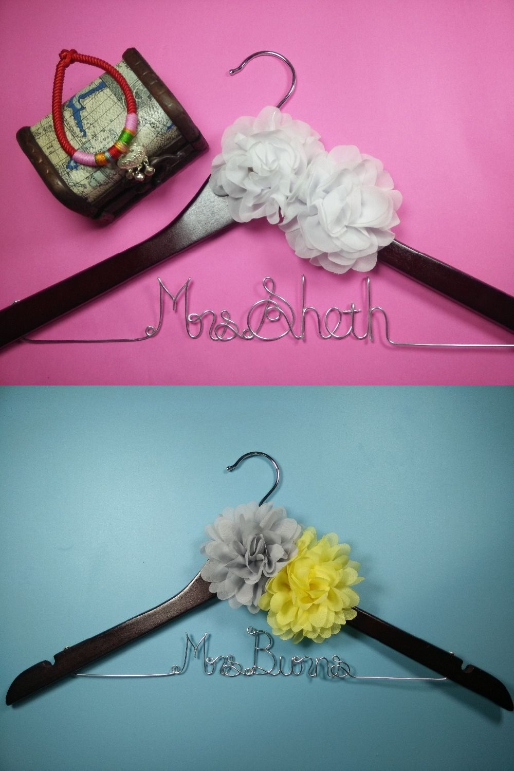 2 flower Personalized Wedding Hanger, bridesmaid gifts,name hanger ...