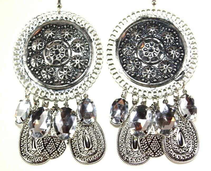 E30336 - Antique Silver Round Fashionable Earrings
