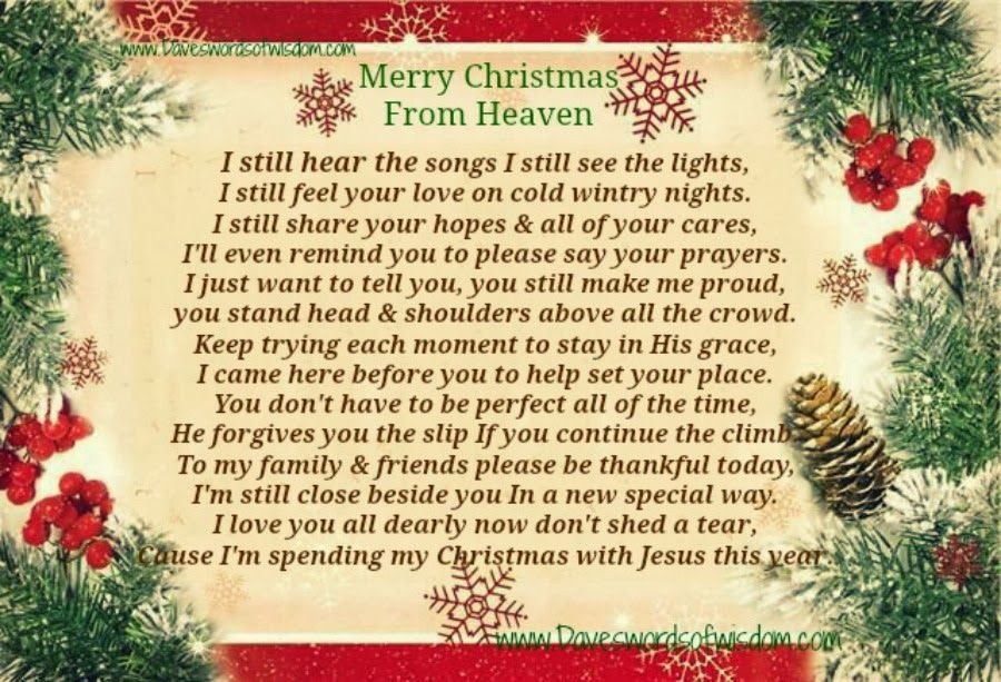 Merry Christmas From Heaven Christmas Christmas Quotes Christmas Quotes For  Family Christmas Quotes About Losing Loved Ones Christmas In Heaven Quotes  ...