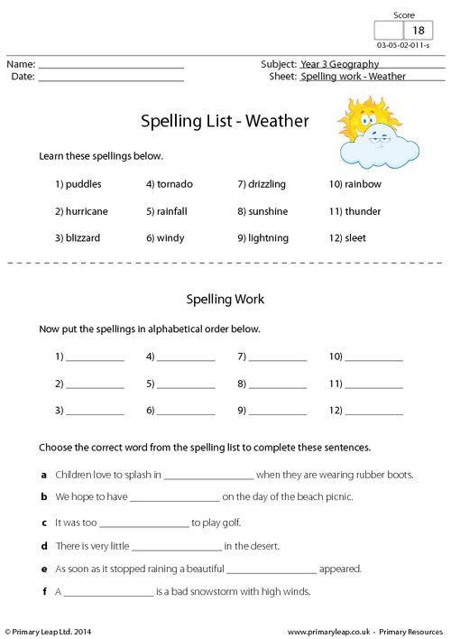 Primaryleap Spelling List Weather Worksheet Children