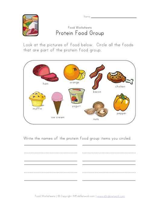 Protein Food Group Worksheet Group Meals Food Lessons Protein Foods Food group worksheets