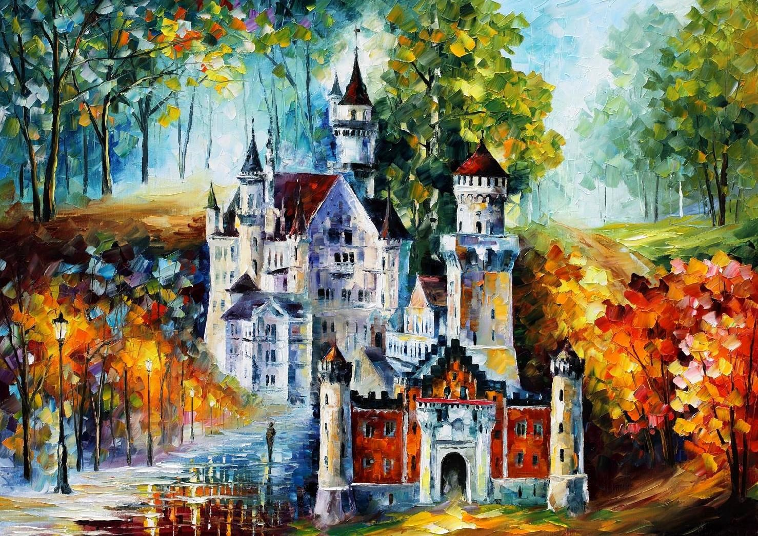 Castle Palette Knife Oil Painting On Canvas By Leonid