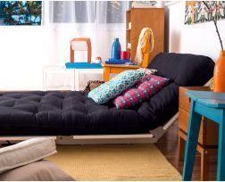 Sofá-cama Liberdade - Branco com Futon Azul