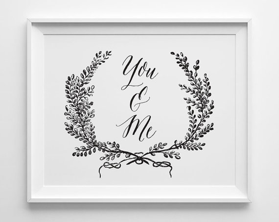 You & Me Print, Black and White Bedroom Art, Wedding Gift, Anniversary Gift, Minimal Bedroom Decor, Wedding Sign is part of Minimalist bedroom Art - 203340569 ▶ FRAME NOT INCLUDED • 5 x 7 , 8 x 10  or 11 x 14  print ready for framing • matte white paper (100 lb) • printed digitally with archival inks • packaged in a clear poly sleeve with stiff backing • shipped in a rigid envelope via Canada Post or USPS