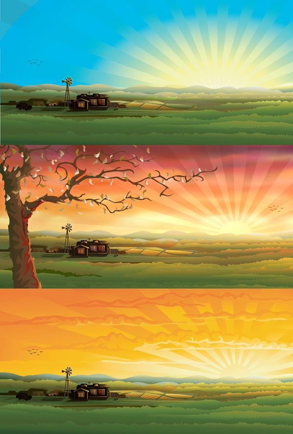 COUNTRYSIDE SCENERY vector background