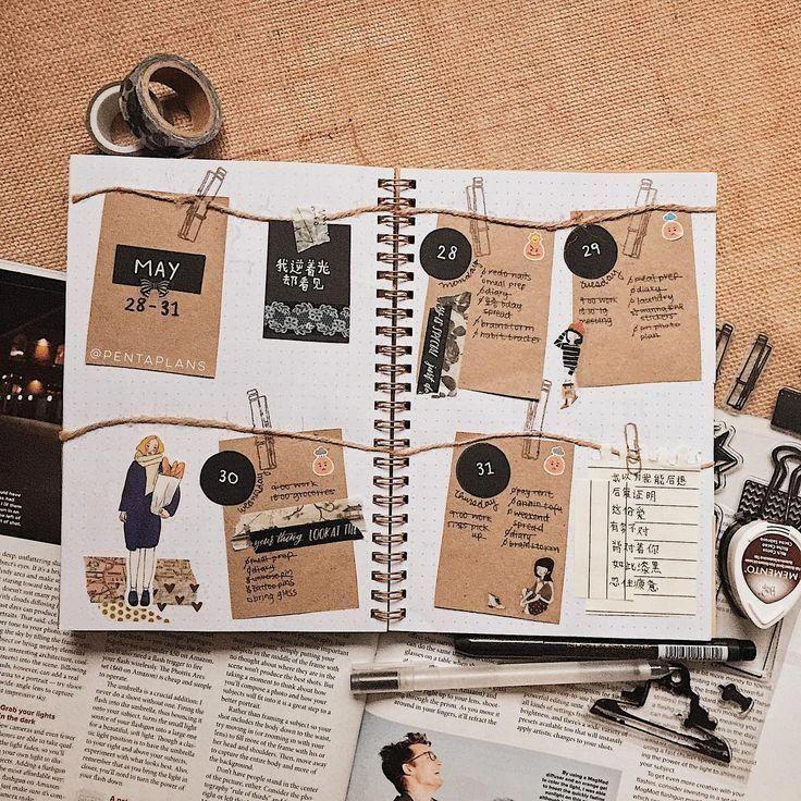 inspiración, idea para bullet journal, semanal #ScrapbookIdeen