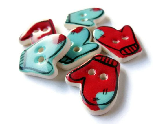 Handmade Ceramic Mitten Sewing Buttons, Aqua Blue, Red, and White, Winter Christmas Holiday SewOn Buttons 2013 Trend Colors, Sewing Supplies...