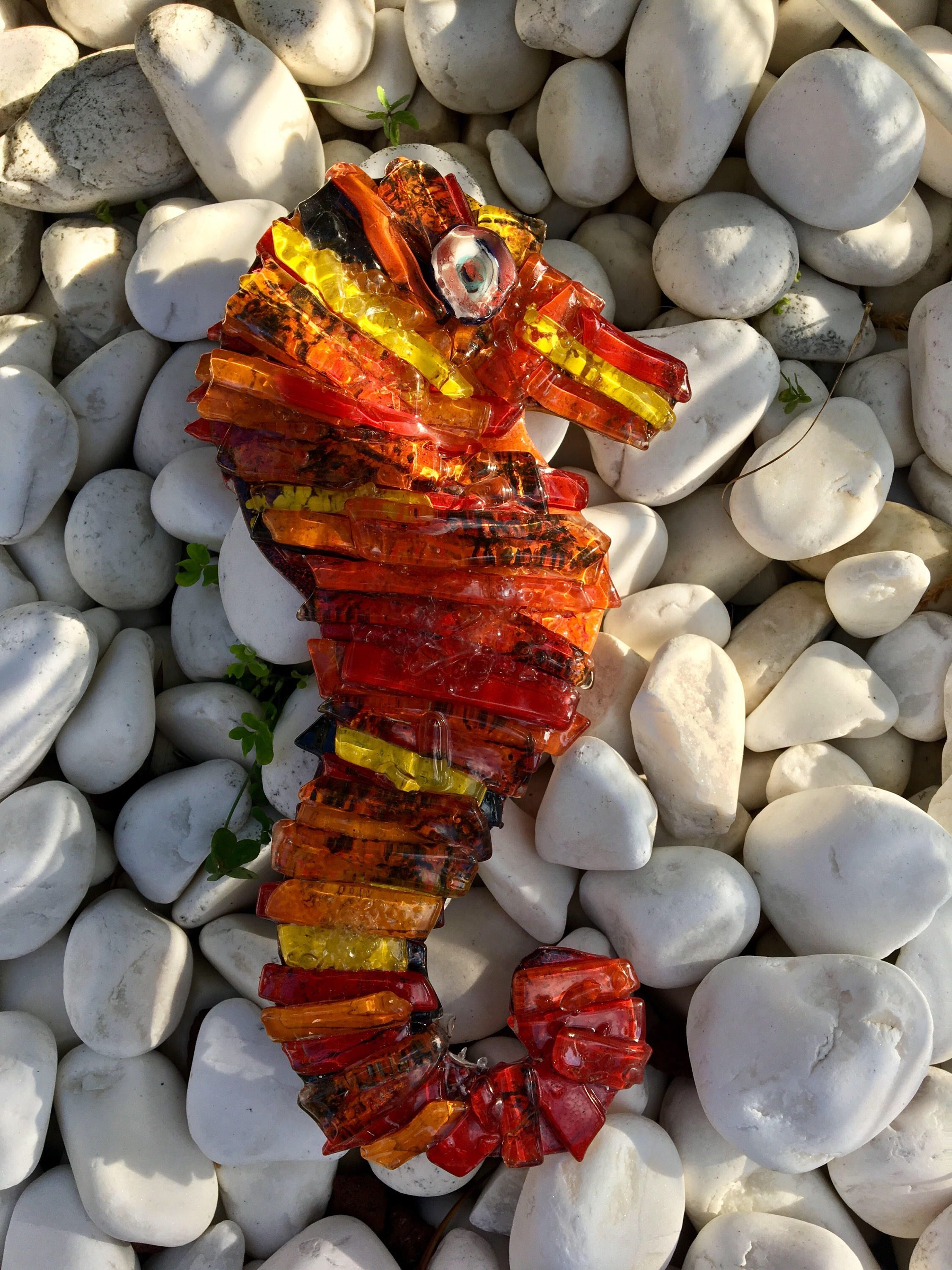 Minart fused glass red seahorse with handmade | Pinterest | Homeart ...