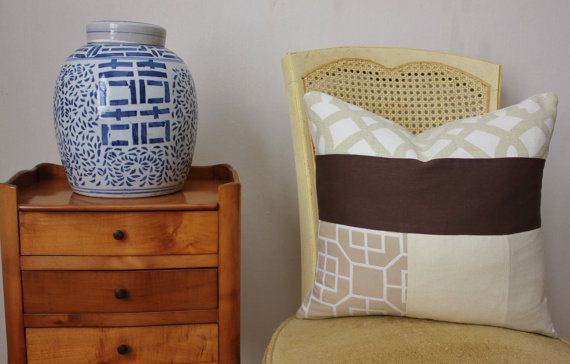 Neutral Mixed Fabric Pillow Cover by DesignDissected on Etsy