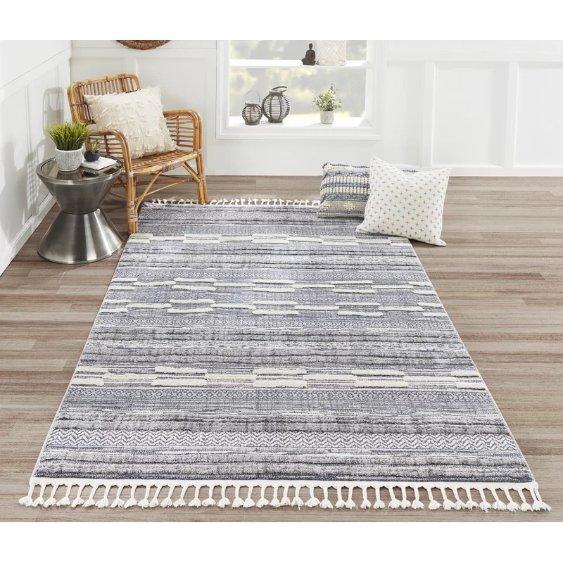 Brumbaugh Striped Blue Gray Ivory Area Rug In 2020 Area Rugs Blue Area Blue Area Rugs